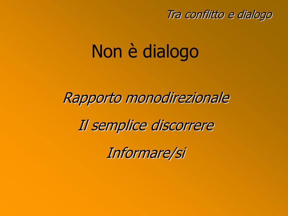 Non è dialogo Rapporto monodirezionale Il semplice discorrere