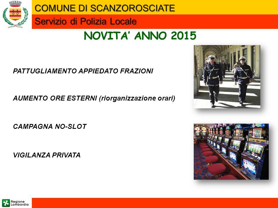 NOVITA' ANNO 2015 COMUNE DI SCANZOROSCIATE Servizio di Polizia Locale