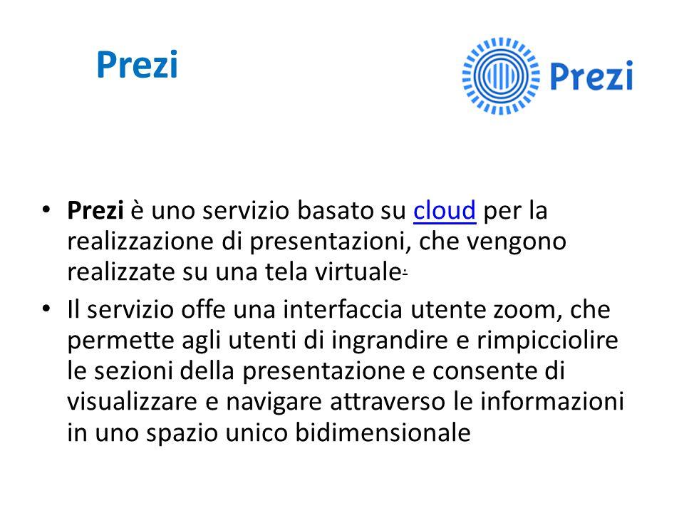 Prezi Prezi è uno servizio basato su cloud per la realizzazione di presentazioni, che vengono realizzate su una tela virtuale.