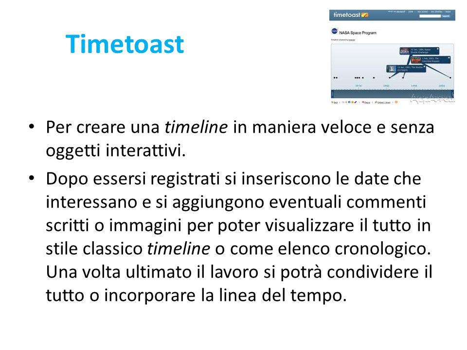 Timetoast Per creare una timeline in maniera veloce e senza oggetti interattivi.