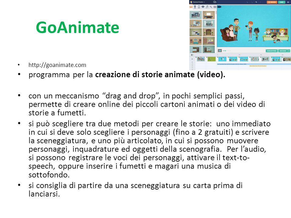 GoAnimate programma per la creazione di storie animate (video).
