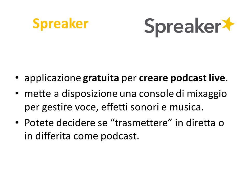 Spreaker applicazione gratuita per creare podcast live.