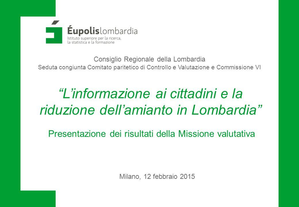 L'informazione ai cittadini e la riduzione dell'amianto in Lombardia
