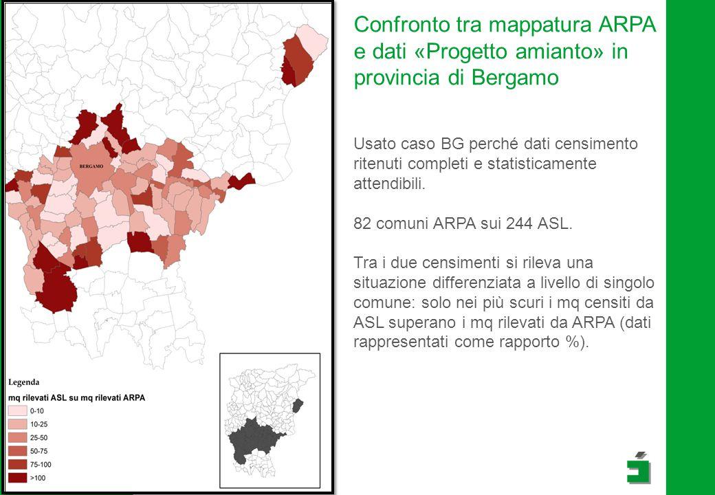 Confronto tra mappatura ARPA e dati «Progetto amianto» in provincia di Bergamo