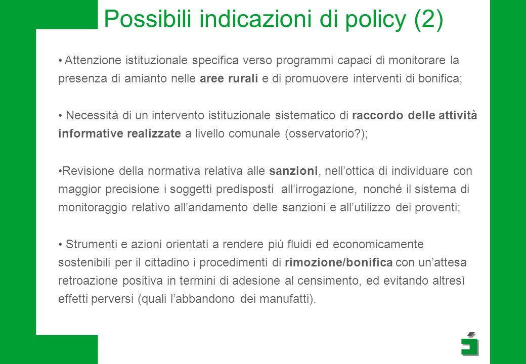 Possibili indicazioni di policy (2)