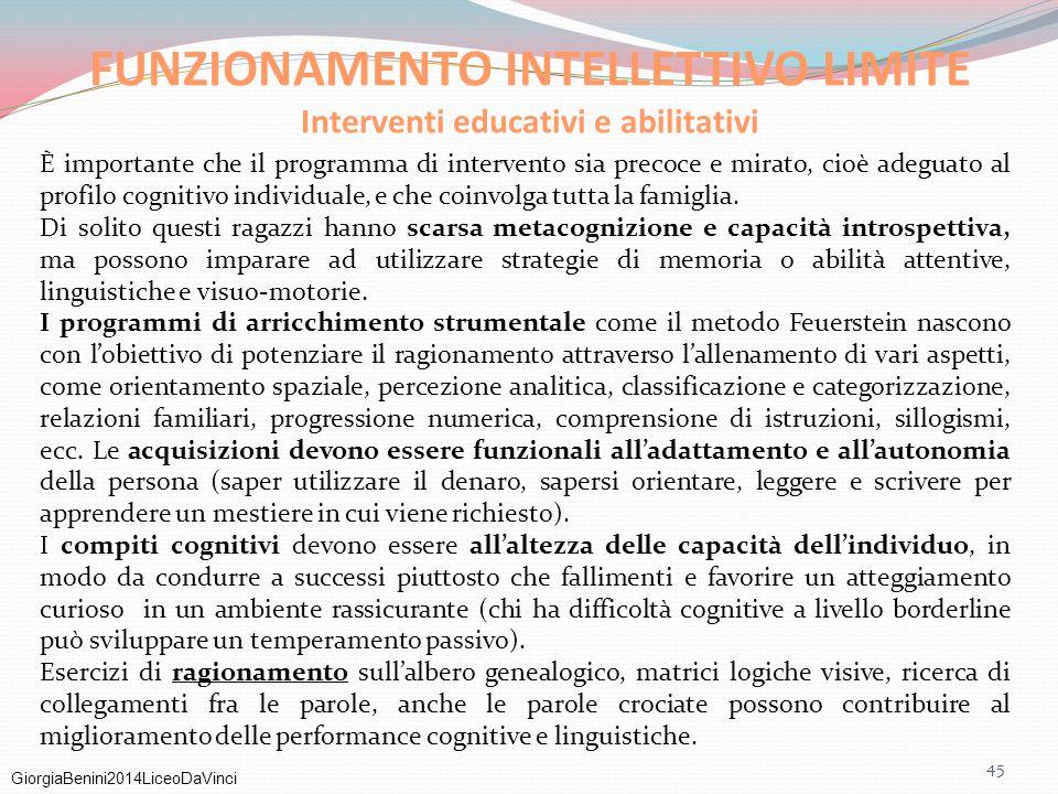 FUNZIONAMENTO INTELLETTIVO LIMITE Interventi educativi e abilitativi