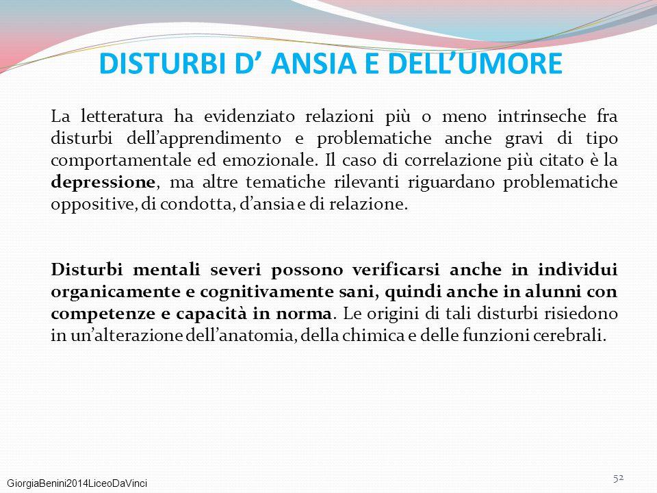 DISTURBI D' ANSIA E DELL'UMORE