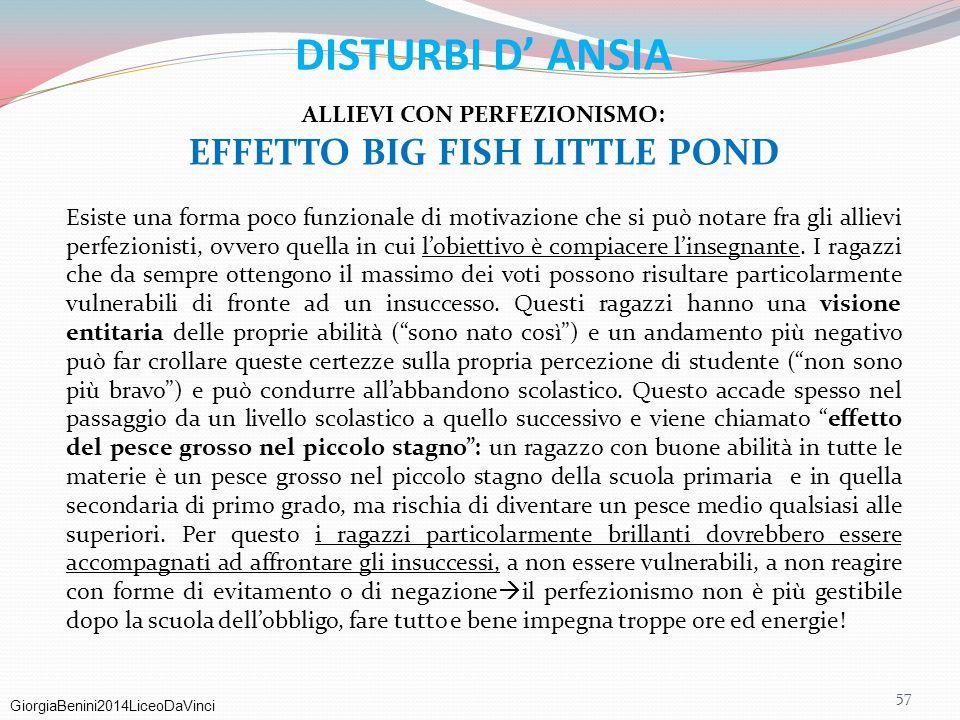 ALLIEVI CON PERFEZIONISMO: EFFETTO BIG FISH LITTLE POND
