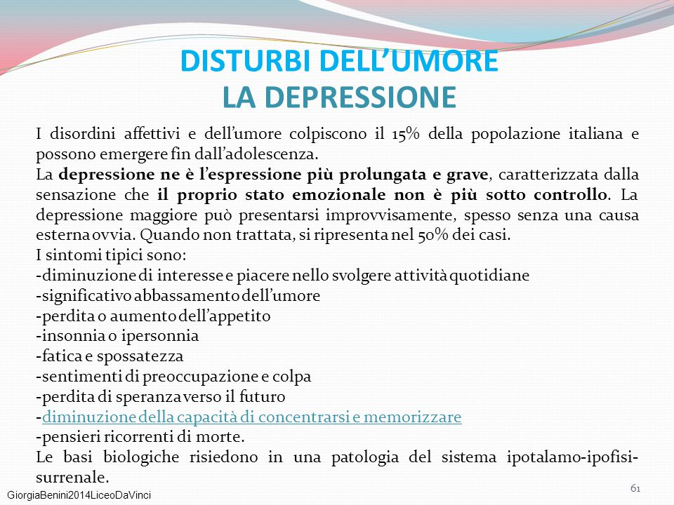 DISTURBI DELL'UMORE LA DEPRESSIONE