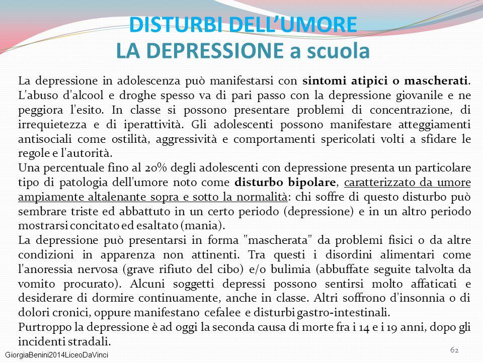 LA DEPRESSIONE a scuola