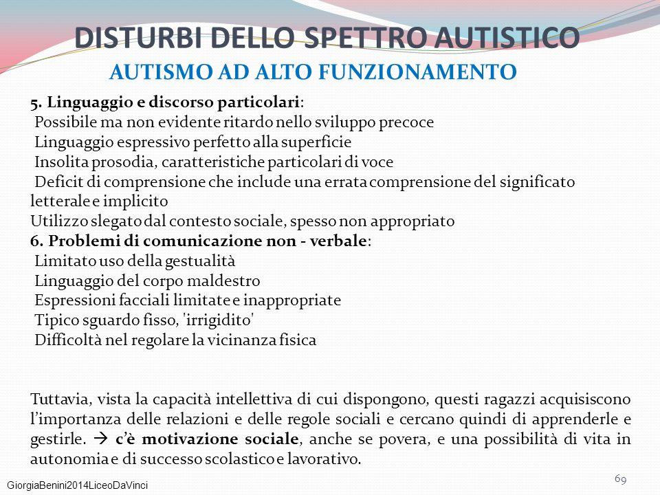 DISTURBI DELLO SPETTRO AUTISTICO AUTISMO AD ALTO FUNZIONAMENTO