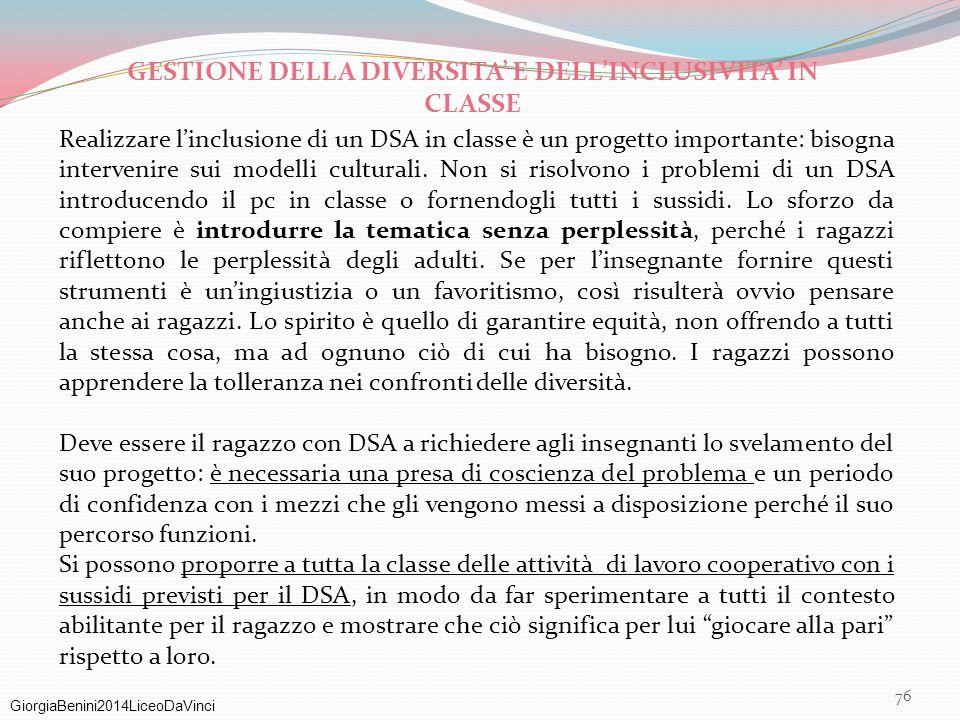 GESTIONE DELLA DIVERSITA' E DELL'INCLUSIVITA' IN CLASSE