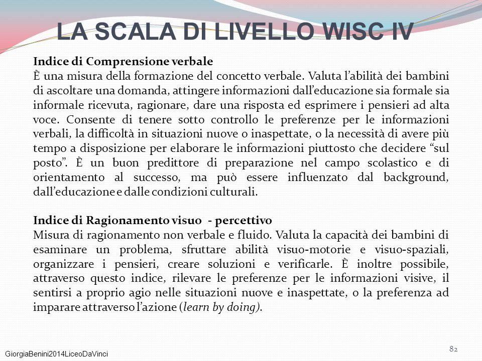LA SCALA DI LIVELLO WISC IV