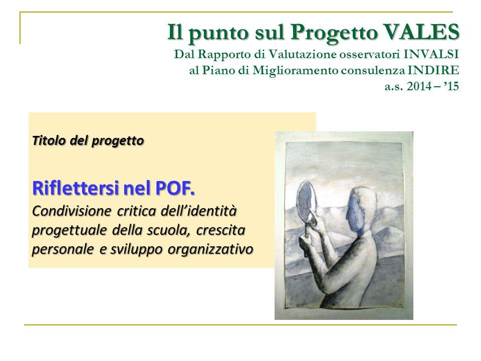 Il punto sul Progetto VALES Dal Rapporto di Valutazione osservatori INVALSI al Piano di Miglioramento consulenza INDIRE a.s. 2014 – '15