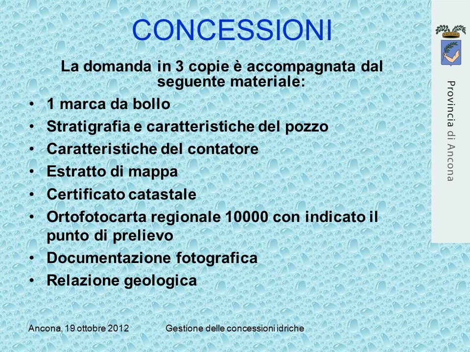 La domanda in 3 copie è accompagnata dal seguente materiale: