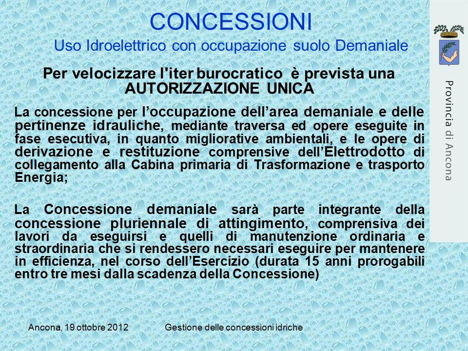 CONCESSIONI Uso Idroelettrico con occupazione suolo Demaniale