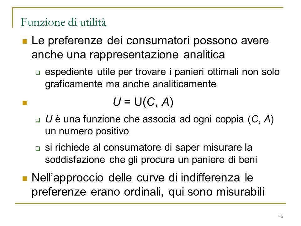 Funzione di utilità Le preferenze dei consumatori possono avere anche una rappresentazione analitica.