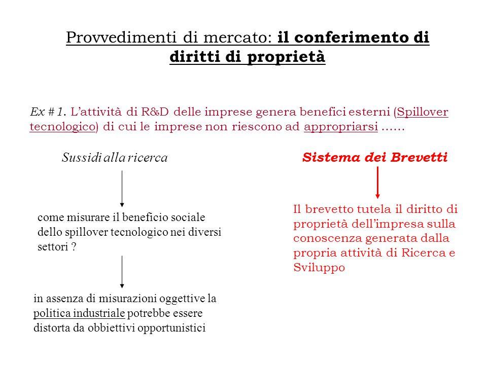 Provvedimenti di mercato: il conferimento di diritti di proprietà