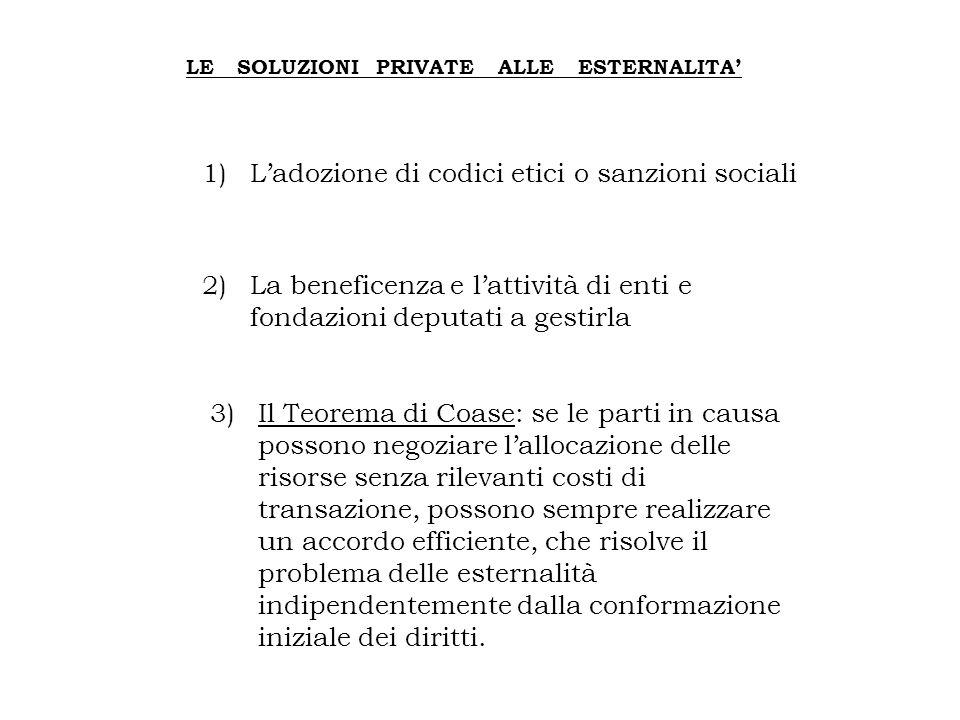 1) L'adozione di codici etici o sanzioni sociali