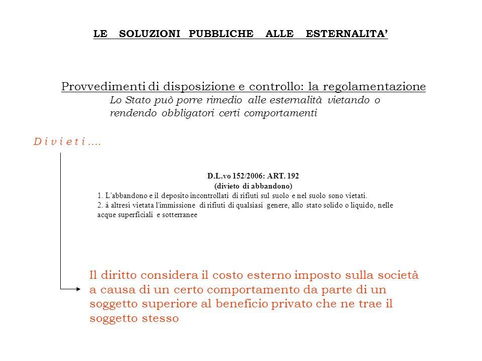 D.L.vo 152/2006: ART. 192 (divieto di abbandono)