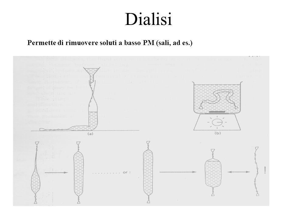 Dialisi Permette di rimuovere soluti a basso PM (sali, ad es.)