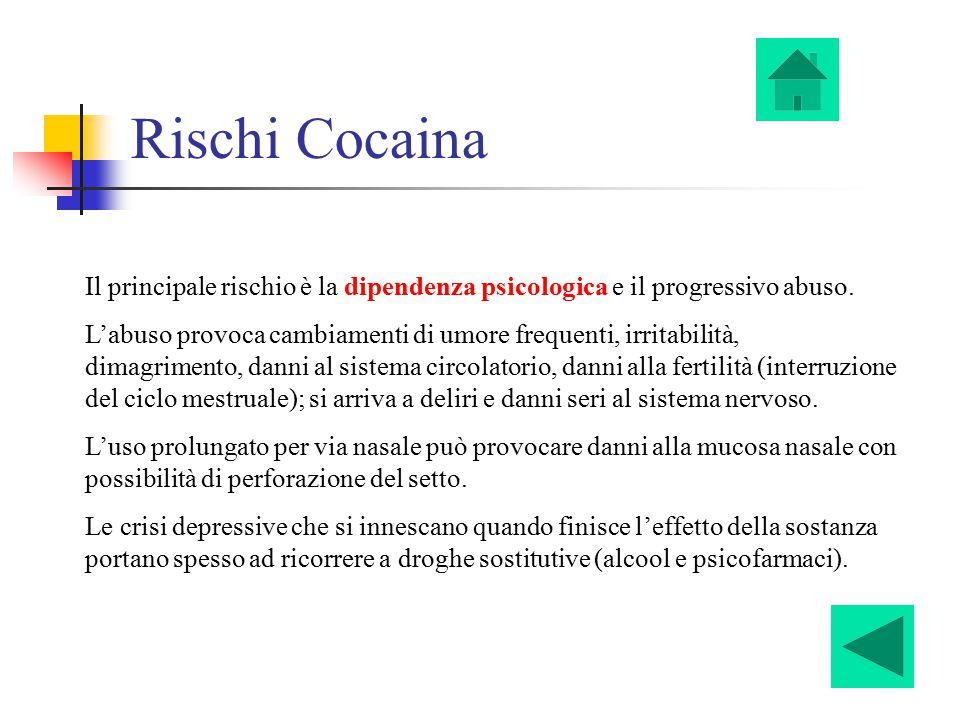 Rischi Cocaina Il principale rischio è la dipendenza psicologica e il progressivo abuso.