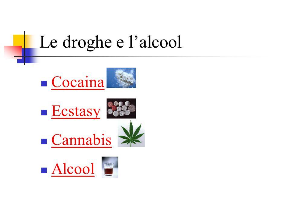 Le droghe e l'alcool Cocaina Ecstasy Cannabis Alcool