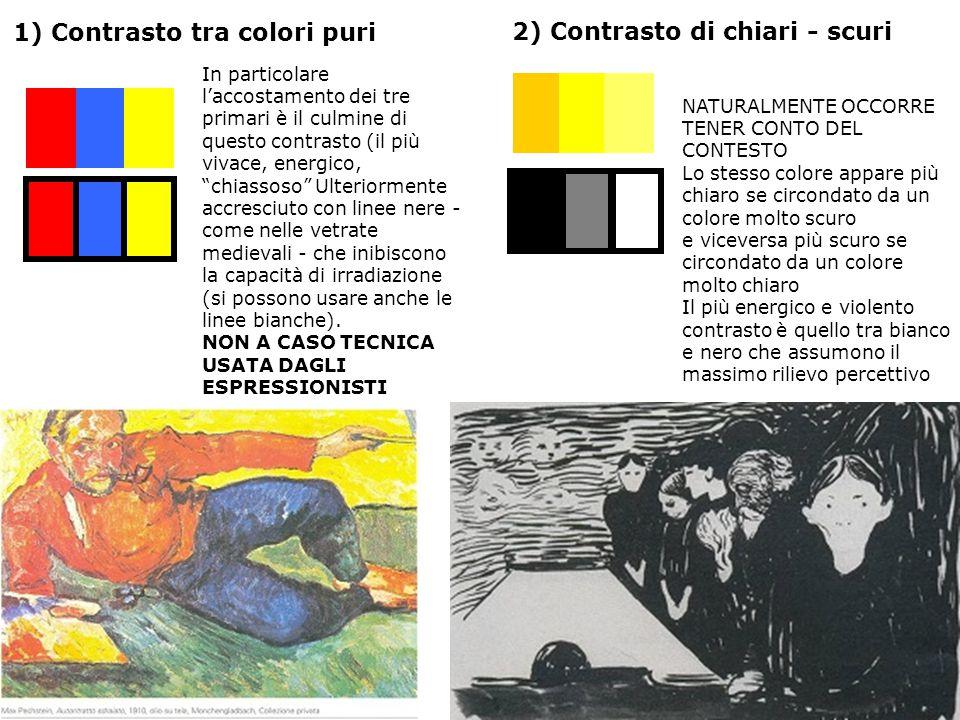 1) Contrasto tra colori puri 2) Contrasto di chiari - scuri