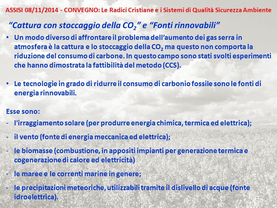 Cattura con stoccaggio della CO2 e Fonti rinnovabili