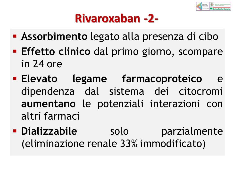 Rivaroxaban -2- Assorbimento legato alla presenza di cibo
