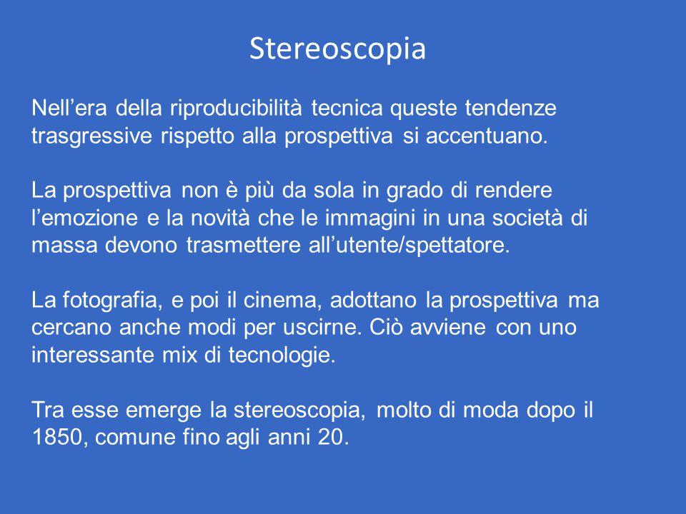 Stereoscopia Nell'era della riproducibilità tecnica queste tendenze trasgressive rispetto alla prospettiva si accentuano.
