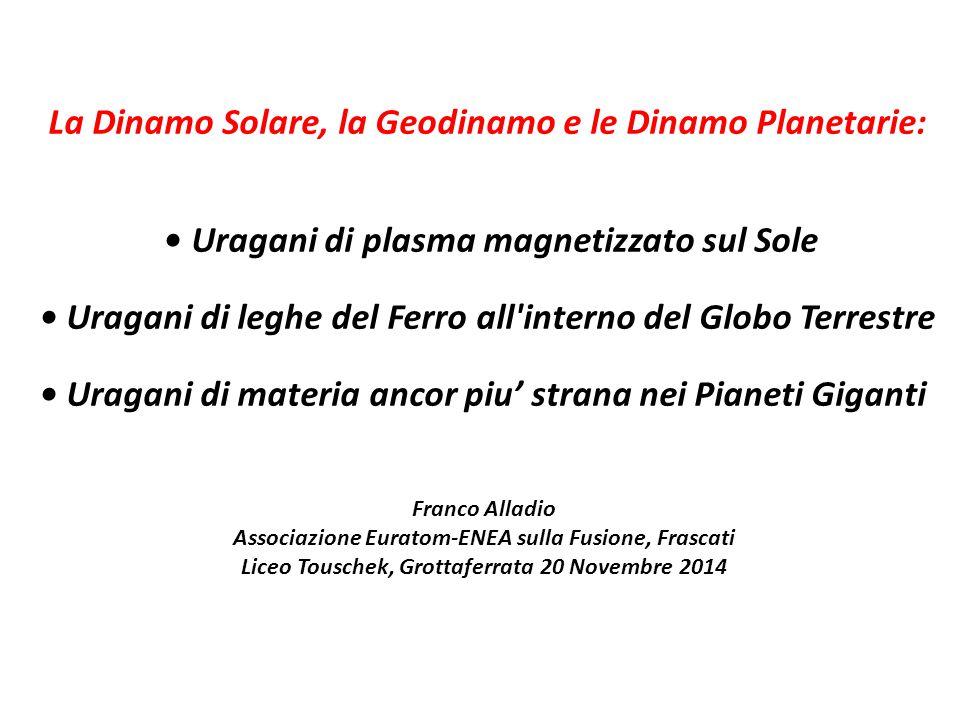 La Dinamo Solare, la Geodinamo e le Dinamo Planetarie: