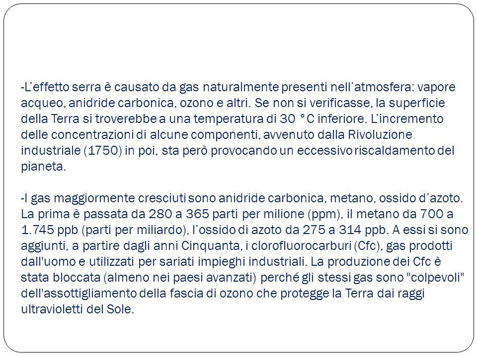 -L'effetto serra è causato da gas naturalmente presenti nell'atmosfera: vapore acqueo, anidride carbonica, ozono e altri.