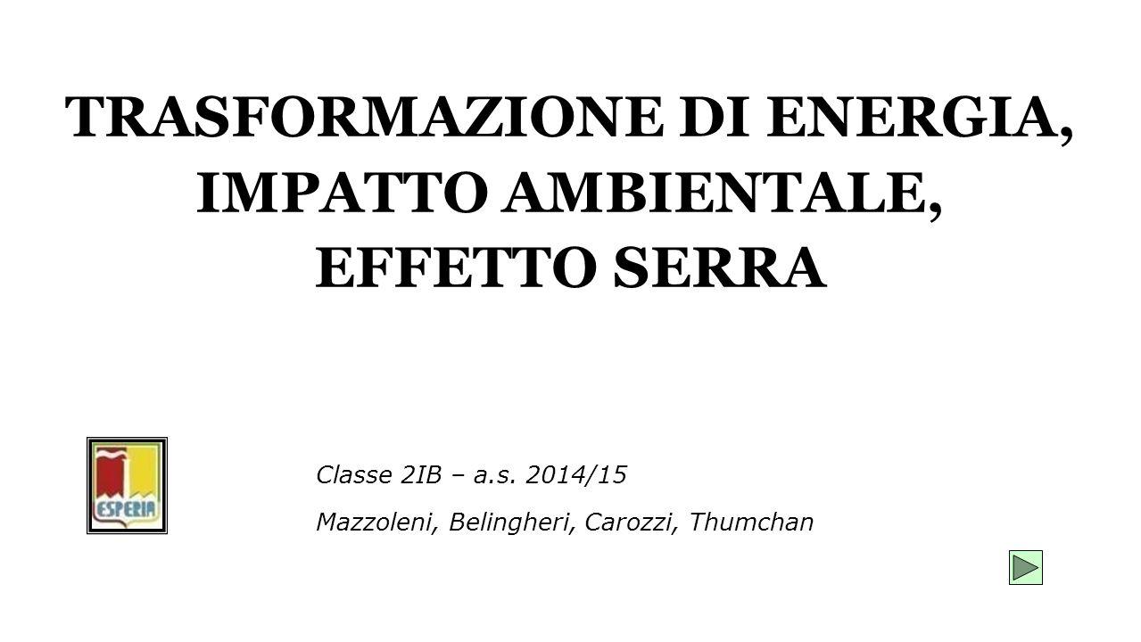 TRASFORMAZIONE DI ENERGIA, IMPATTO AMBIENTALE, EFFETTO SERRA