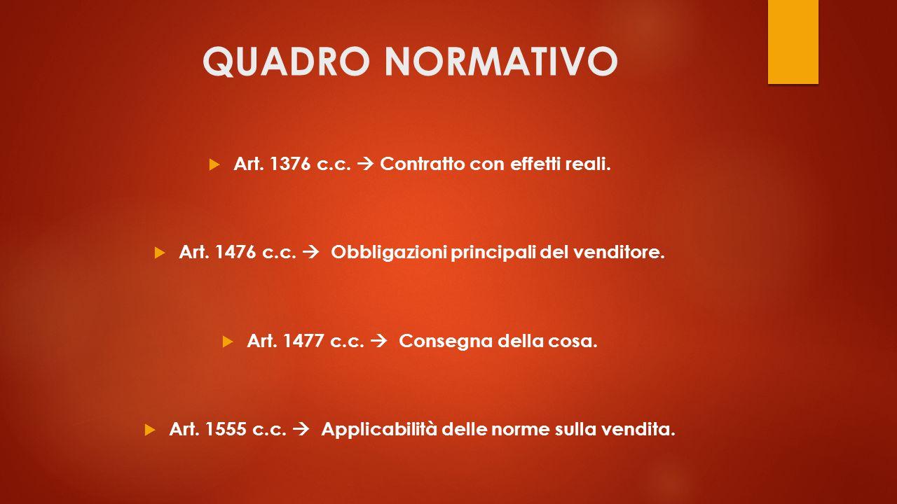 QUADRO NORMATIVO Art. 1376 c.c.  Contratto con effetti reali.