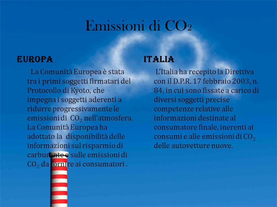 Emissioni di CO2 Europa Italia