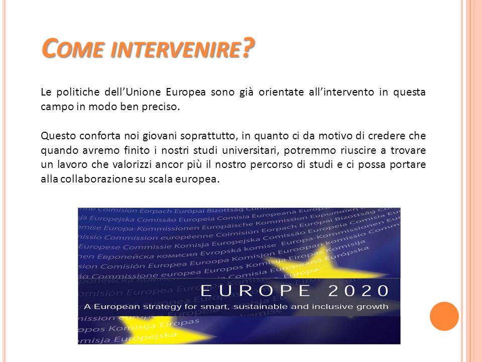 Come intervenire Le politiche dell'Unione Europea sono già orientate all'intervento in questa campo in modo ben preciso.