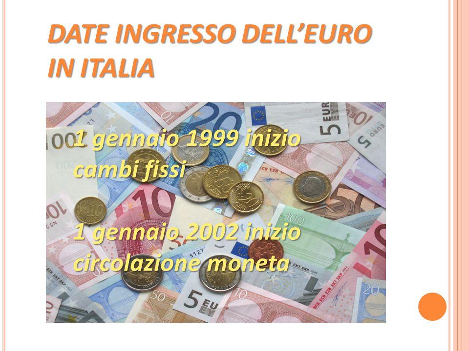 DATE INGRESSO DELL'EURO IN ITALIA