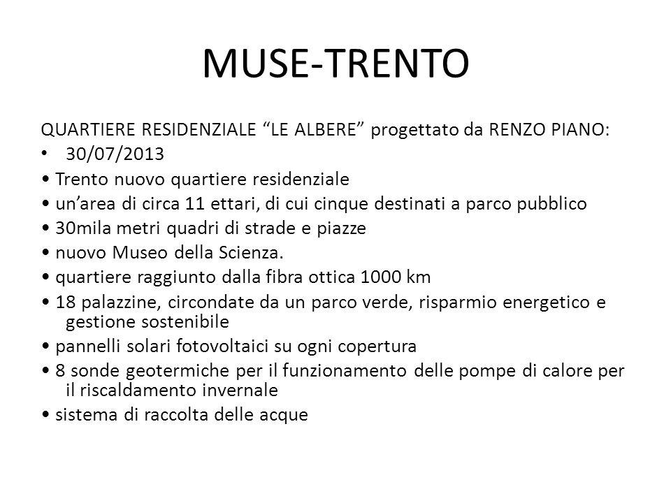 MUSE-TRENTO QUARTIERE RESIDENZIALE LE ALBERE progettato da RENZO PIANO: 30/07/2013. • Trento nuovo quartiere residenziale.
