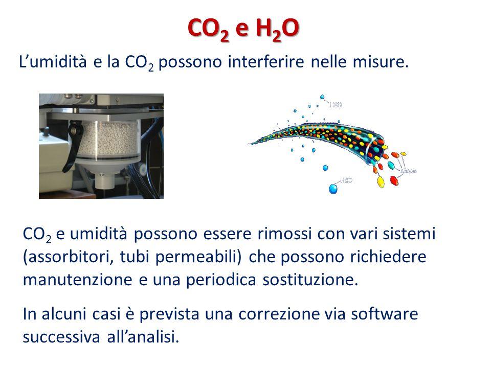 CO2 e H2O L'umidità e la CO2 possono interferire nelle misure.