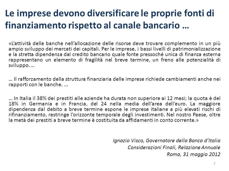 Le imprese devono diversificare le proprie fonti di finanziamento rispetto al canale bancario …