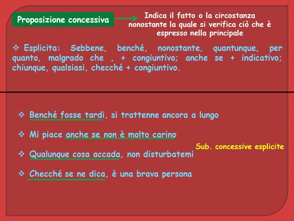 Proposizione concessiva Sub. concessive esplicite