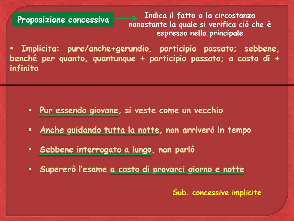 Proposizione concessiva Sub. concessive implicite