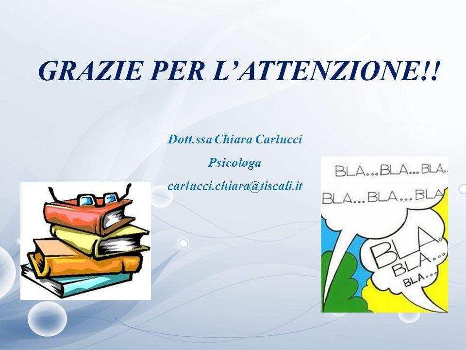 GRAZIE PER L'ATTENZIONE!! Dott.ssa Chiara Carlucci