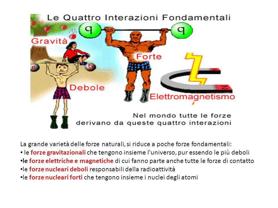 La grande varietà delle forze naturali, si riduce a poche forze fondamentali: