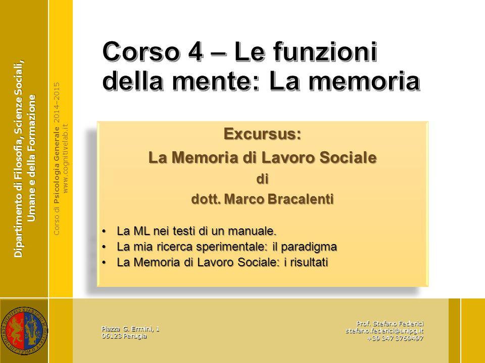 Corso 4 – Le funzioni della mente: La memoria