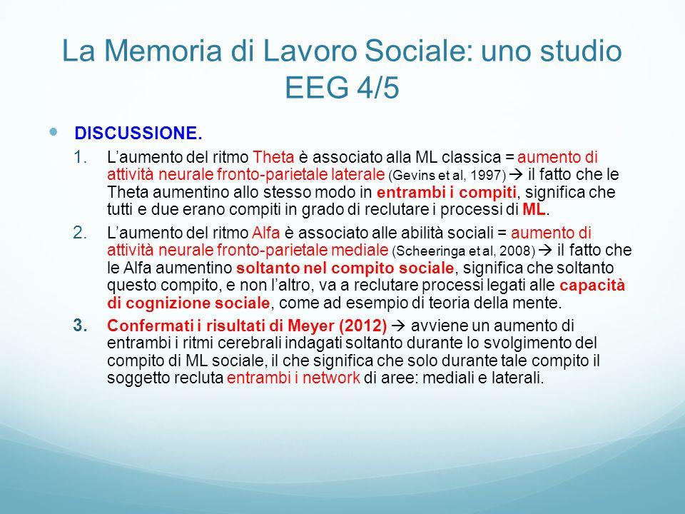 La Memoria di Lavoro Sociale: uno studio EEG 4/5