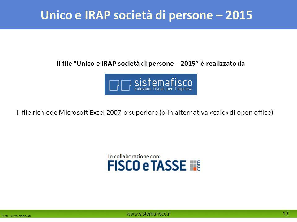 Il file Unico e IRAP società di persone – 2015 è realizzato da