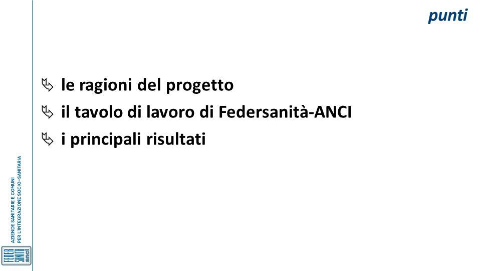 punti le ragioni del progetto il tavolo di lavoro di Federsanità-ANCI i principali risultati
