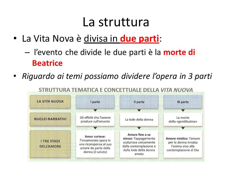 La struttura La Vita Nova è divisa in due parti: